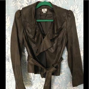 Faux Suede Jacket Ruffle Collar Worthington S